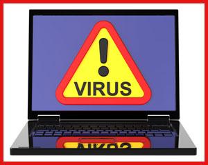Virus warning on laptop